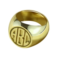 Customized Signet Ring with Block Monogram 18K Gold Plated