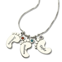 Personalised Mothers Necklace Baby Feet Charm