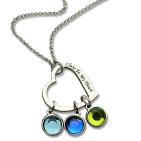 Family Heart&Birthstone Necklace