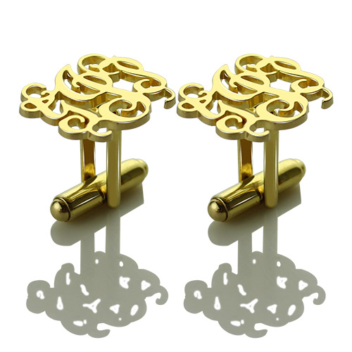 Gold Monogram Cufflinks