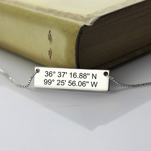 Custom Silver Latitude Longitude Coordinates Address Necklace