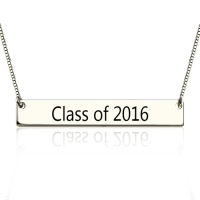 Sterling Silver Engraved Graduation Bar Necklace