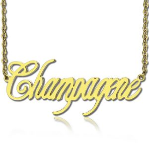 Gold Plated Silver 925 Personalized Champagne Font Name Necklace