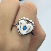 Baby Feet Birthstone Ring For New Mom Platinum Plated