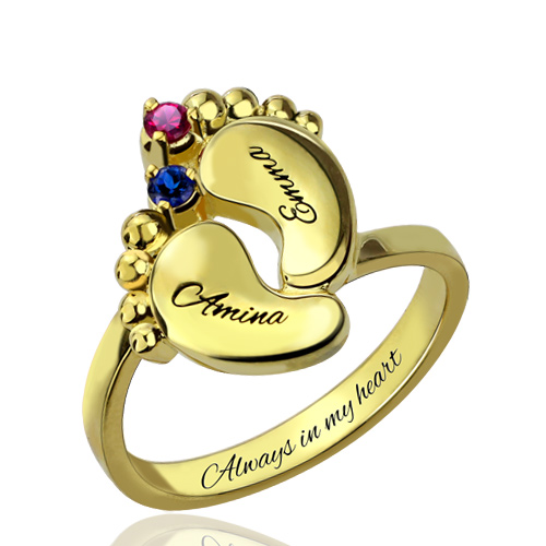 Engraved Baby Feet Birthstone Ring for Mom Gold Plated