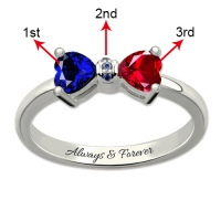 Personalized Birthstones Bow Ring Platinum Plated