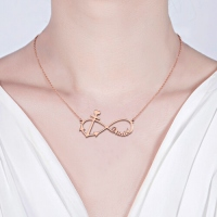 Forever Love Infinity Anchor Name Necklace In Rose Gold