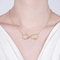 Infinity Baseball Name Necklace Gold Plated