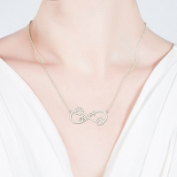 Cute Infinity Necklace With Dog Paw Sterling Silver