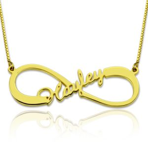 Personalized Single Infinity Name Necklace 18K Gold Plated