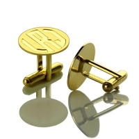 Engraved Block Monogram Disc Cufflinks Gold Plated Silver