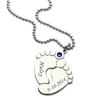 Memory Baby's Feet Charms with Birthstone Sterling Silver