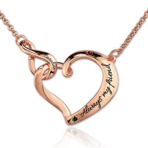 Infinity Love Heart Necklace With Birthstones In Rose Gold