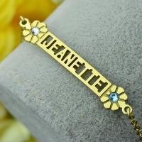 Cut Out Name Bracelet With Birthstone Gold
