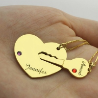 Key to My Heart Name Necklace With Birthstone Gold