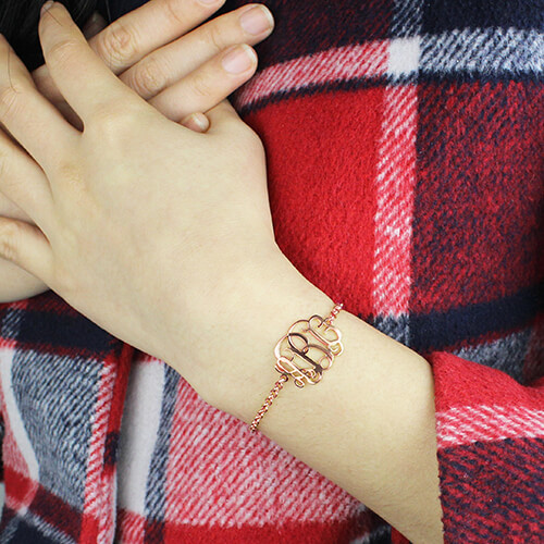 Rose Gold Monogram Bracelet