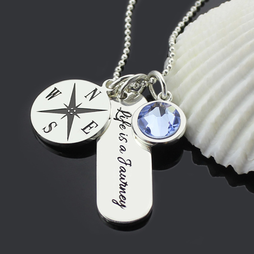 engraved compass necklace