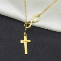 Infinity Symbol Cross Name Necklace 18K Gold Plated