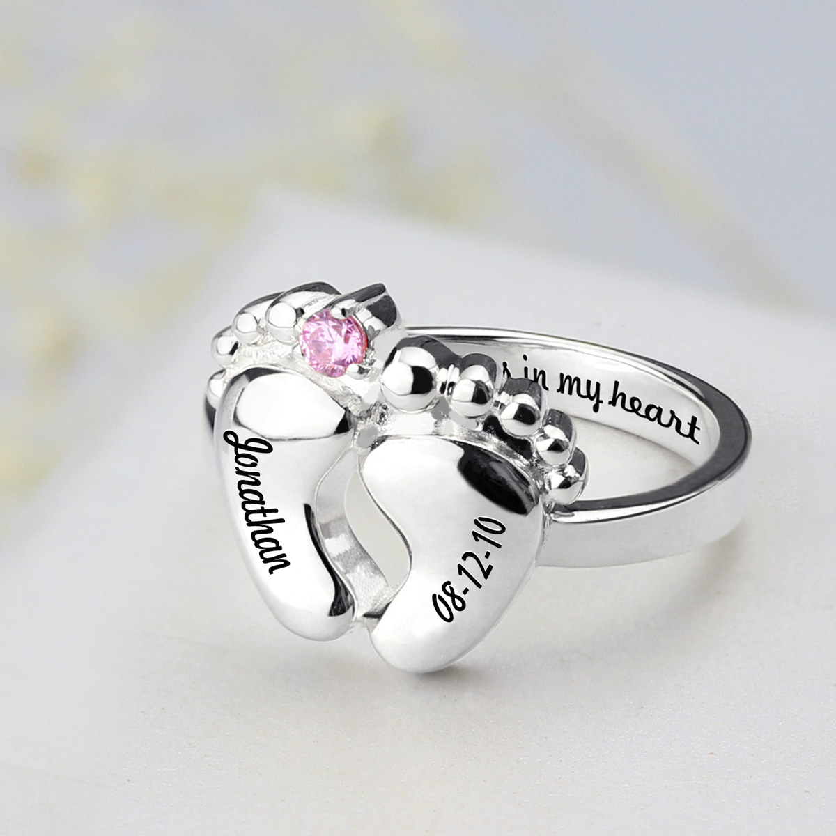 Baby Feet Ring With Birthtone Date Ring For Mothers