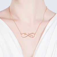Infinity Heartbeat Necklace with Names In Rose Gold