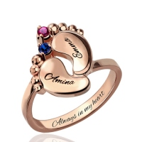 Engraved Baby Feet Birthstone Ring for Mom In Rose Gold