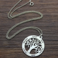 Tree Of Life Necklace Engraved Names in Silver