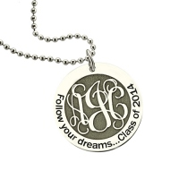 Follow Your Dreams Monogram Necklace Sterling Silver