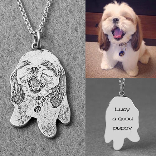 Custom Pet Silhouette Engraved Necklace