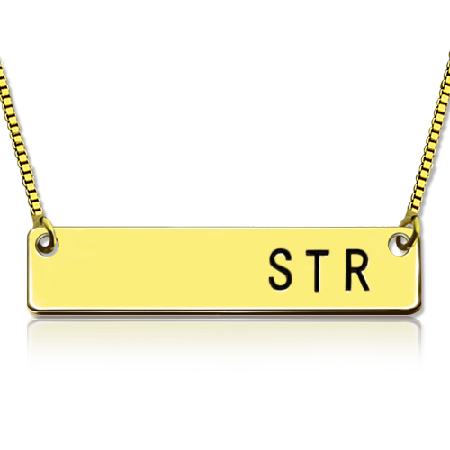 Personalized Initial Bar Necklace 18K Gold Plated