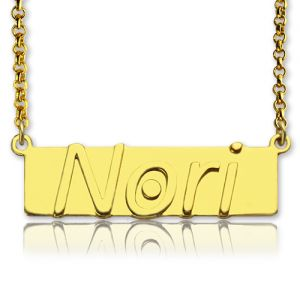 Custom Nameplate Bar Necklace 18K Gold Plated