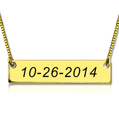 Engraved Date Bar Necklace 18K Gold Plated