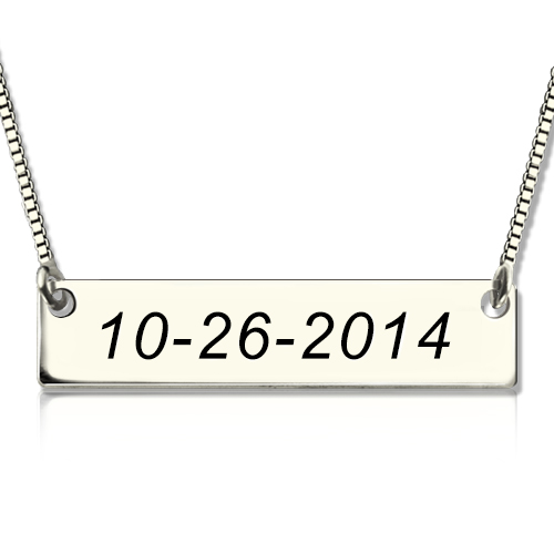 Personalized Sterling Silver Date Bar Necklace