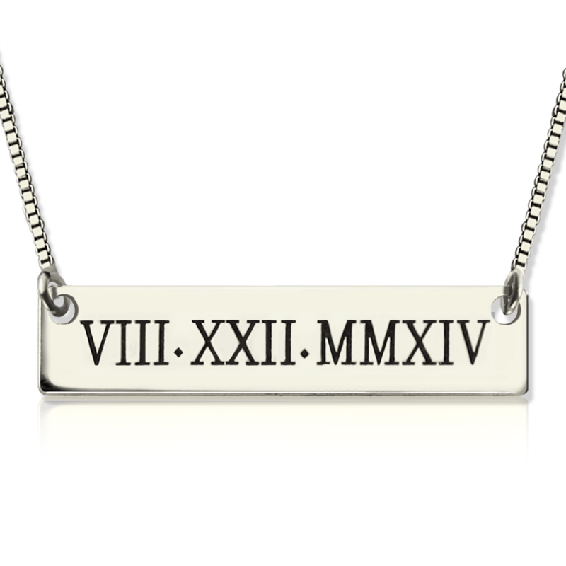 Custom Roman Numeral Bar Necklace Sterling Silver