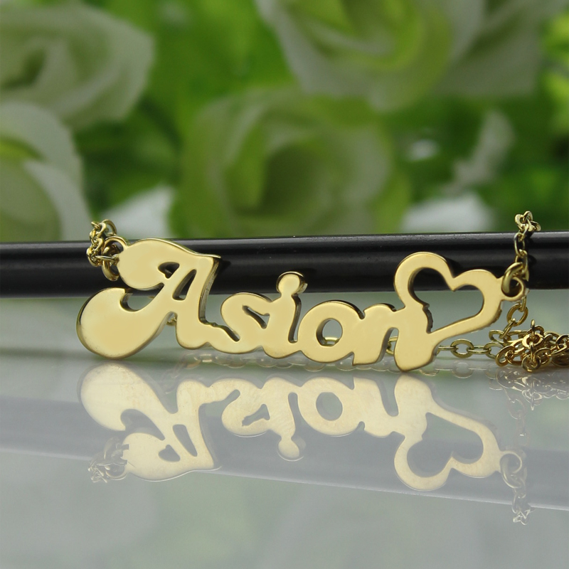 Custom name necklace in gold with heart aloadofball Choice Image