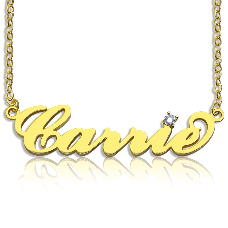 Carrie Nameplate Necklace with Birthstone 18K Gold Plated