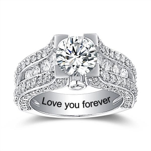 Engraved Gemstone Exclusive Bridal Ring In Silver