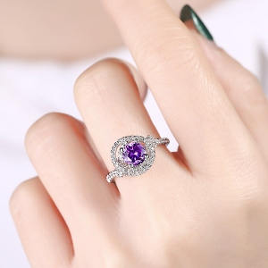 Women's Engraved Gemstone Engagement Ring In Silver