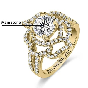 Engraved Gemstone Floral Wedding Ring In Gold