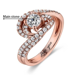Engraved Round Gemstone Swirl Promise Ring In Rose Gold