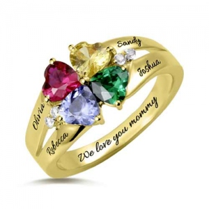 Custom Four Heart Birthstone Ring Gold Plated