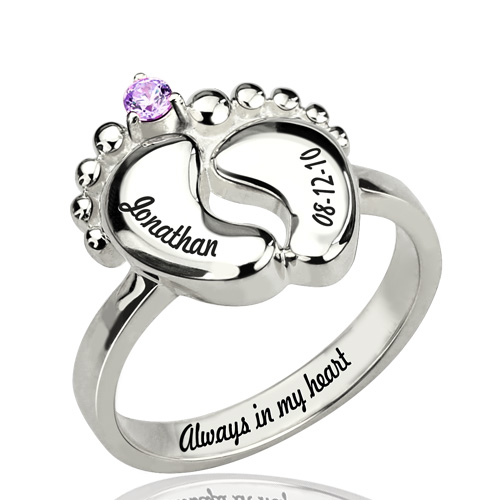engraved baby feet ring with birthstone platinum plated. Black Bedroom Furniture Sets. Home Design Ideas