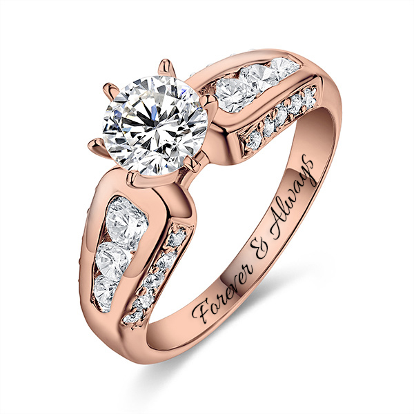 Engraved Round Gemstone Promise Ring In Rose Gold