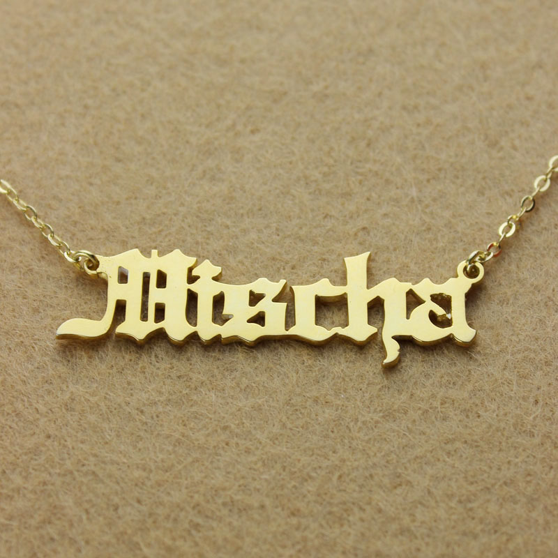 Gold Adam Style Old English Font Name Necklace