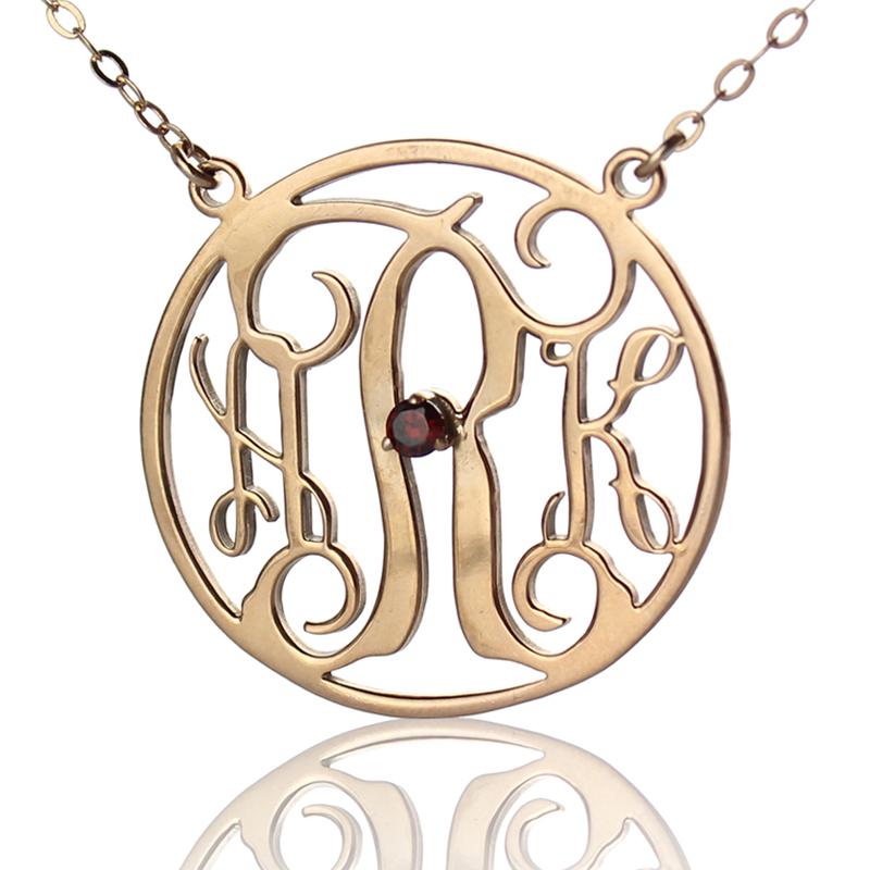 Rose Gold Circle Birthstone Monogram Necklace