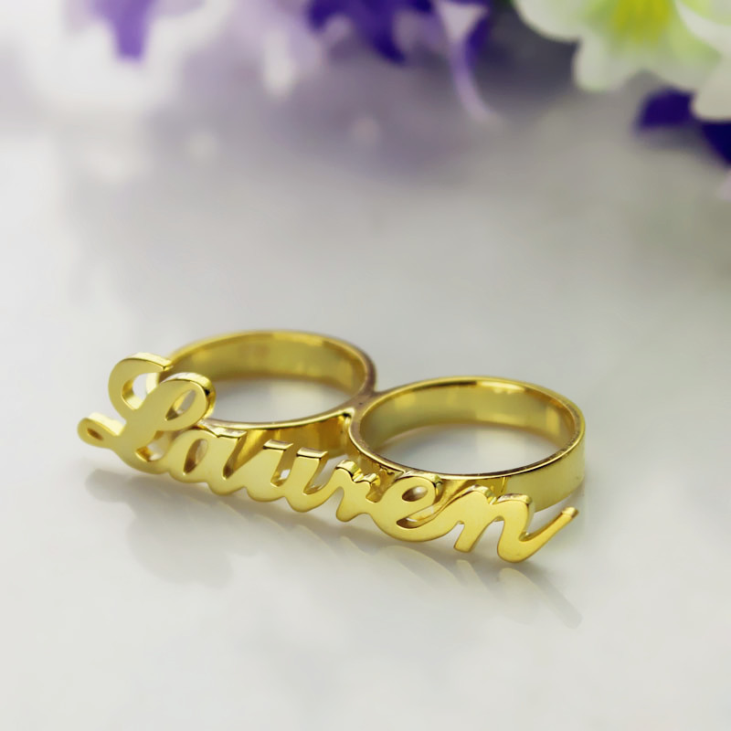 Custom Allegro Two Finger Nameplated Ring 18k Gold Plated