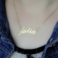 Gold Script Necklace