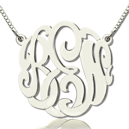Custom Large Monogram Necklace Hand-painted Sterling Silver