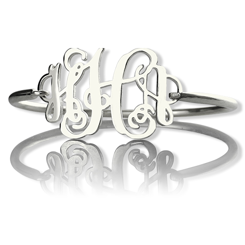 Personalized Monogram Initial Bracelet 1.25 Inch Sterling Silver