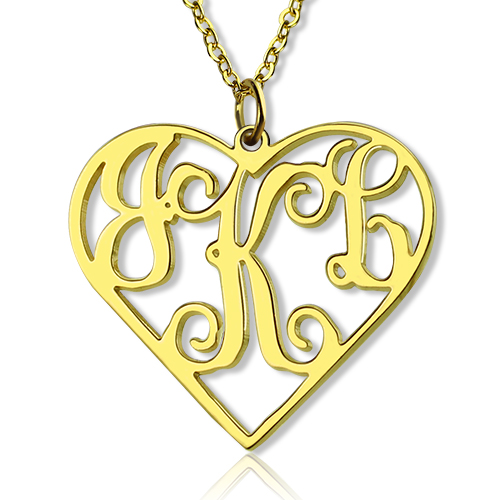Gold Plated Silver 925 Initial Monogram Personalized Heart Necklace-Single Hook
