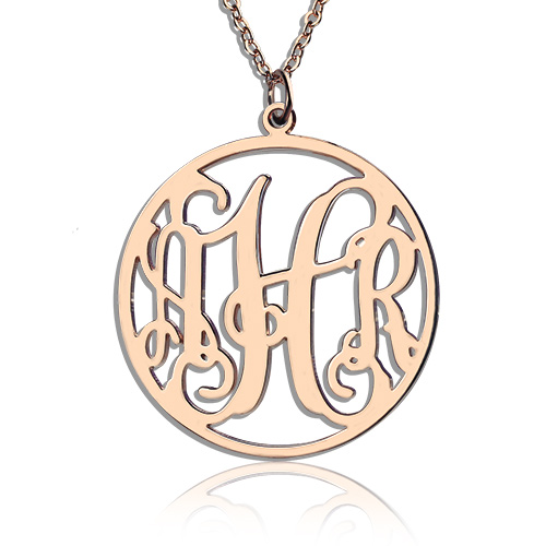 Circle Initial Monogram Necklace Rose Gold